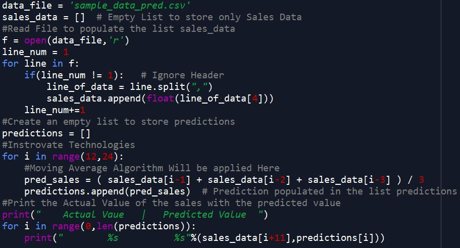 Python code for time series sales prediction
